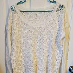 Free People Cream Crochet Sweater Sz M